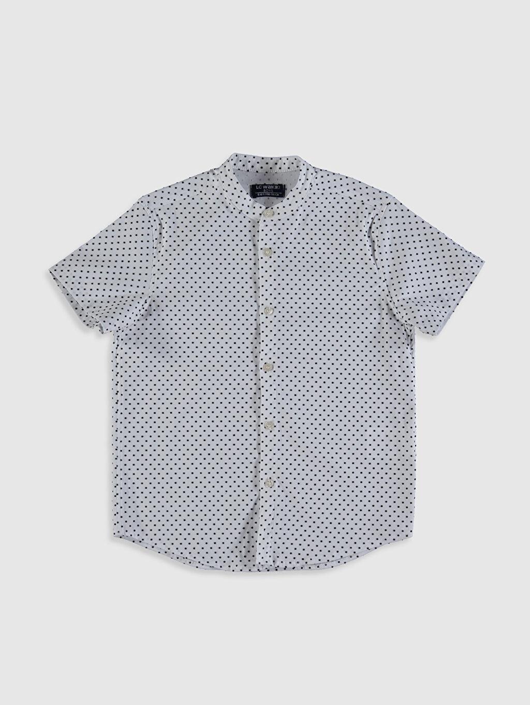 Beyaz Erkek Çocuk Baskılı Pamuklu Gömlek 0SP705Z4 LC Waikiki