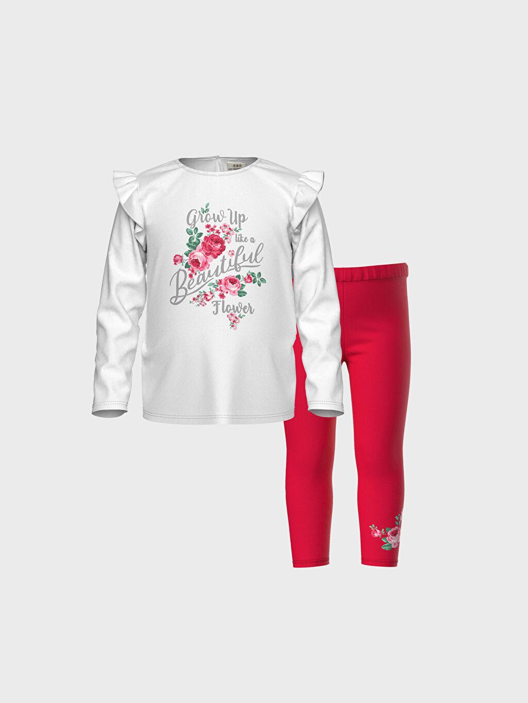 Beyaz Kız Bebek Baskılı Tişört ve Tayt 0SP818Z1 LC Waikiki