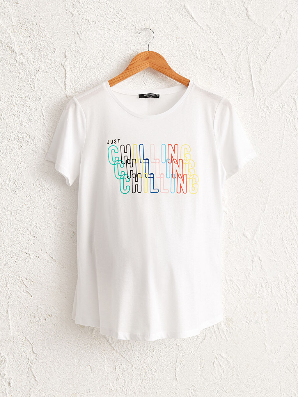 Beyaz Yazı Baskılı Pamuklu Hamile Tişört 0SP826Z8 LC Waikiki
