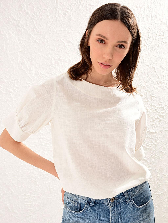 %100 Pamuk %100 Pamuk Kısa Kol Bluz Düz Standart Bluzan İnce Keten Görünümlü Bol Dokulu Pamuklu Kumaştan Balon Kol Bluz