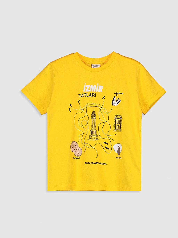 Sarı Erkek Çocuk Baskılı Pamuklu Tişört 0SQ183Z4 LC Waikiki