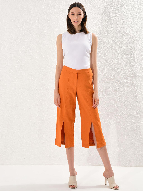 %13 Poliamid %87 Viskoz İnce Pantolon Düz Bilek Boy Keten Görünümlü Yüksek Bel Standart Yüksek Bel Keten Pantolon