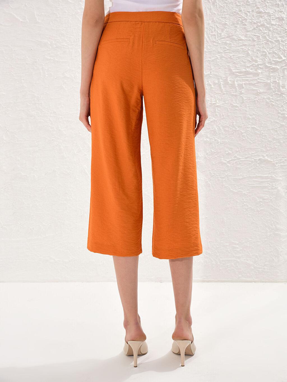 Kadın Yüksek Bel Keten Pantolon