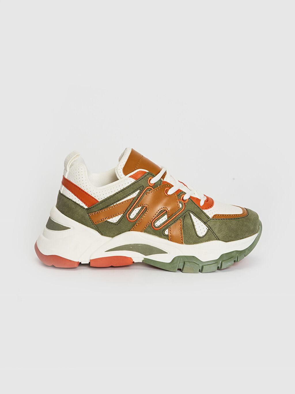 Haki Kadın Kalın Taban Renk Bloklu Spor Ayakkabı 0SQ673Z8 LC Waikiki