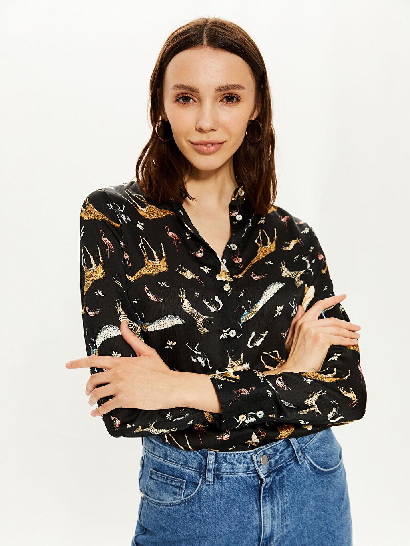 %100 Polyester İnce Gömlek Gömlek Standart Gömlek Yaka Baskılı Uzun Kol Standart Diğer Desenli Saten Gömlek