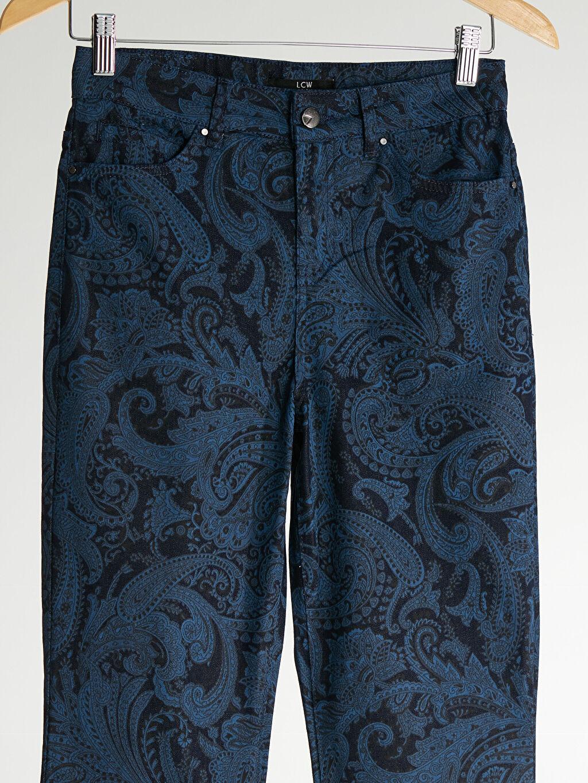 %64 Pamuk %33 Polyester %3 Elastan Aksesuarsız Flare Standart Baskılı Normal Bel Uzun Jean İspanyol Paça Desenli İspanyol Paça Jean Pantolon
