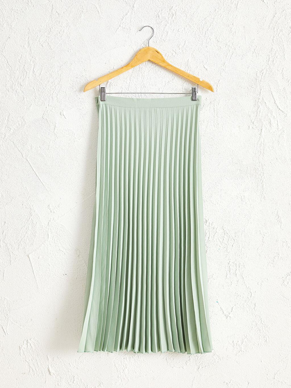 %100 Polyester İnce Plili Astarsız Etek Uzun Pileli Etek