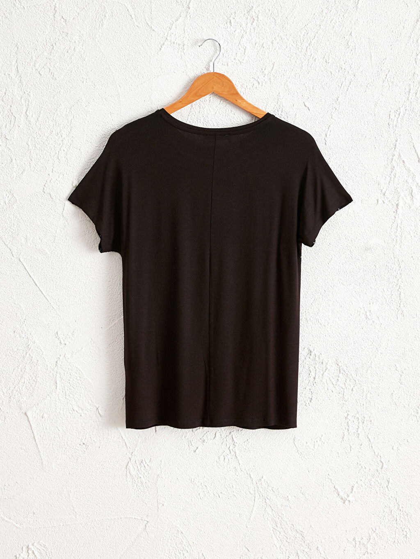 %97 Viskon %3 Elastan Tişört Kısa Kol U Yaka Penye İnce Çizgili Viskon Tişört