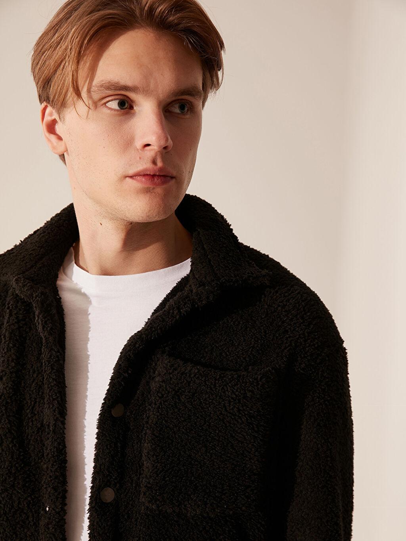 %100 Polyester Kalın Uzun Kol Gömlek Gömlek Diğer Düz Pelüş Standart Kalıp Pelüş Hırka