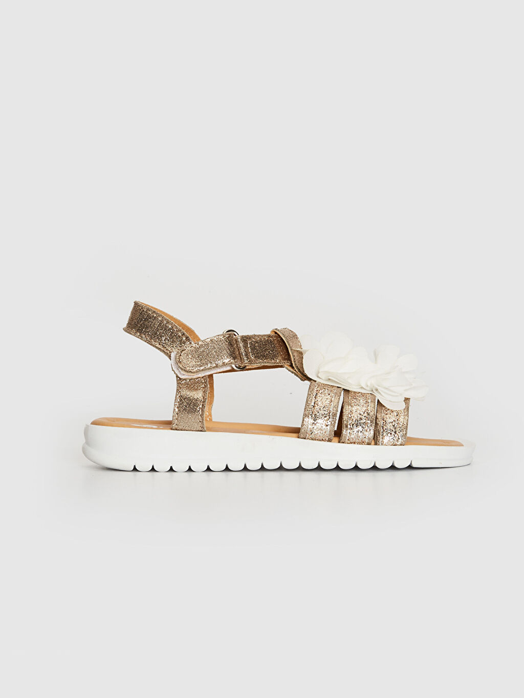 %0 Tekstil malzemeleri (%100 poliester) Cırt Cırt PU Astar Işıksız Sandalet Kız Çocuk Çiçek Detaylı Sandalet