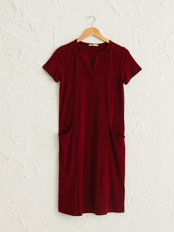 Kırmızı V Yaka Esnek Elbise 0SR849Z8 LC Waikiki