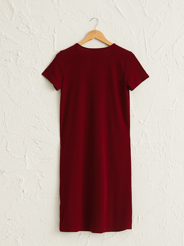 LC Waikiki Kırmızı V Yaka Esnek Elbise