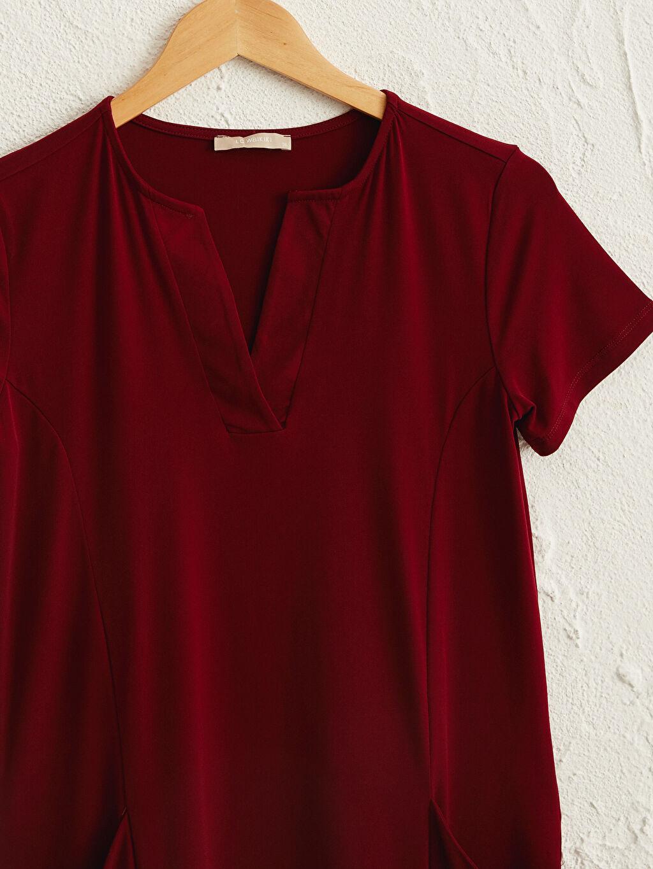 Kırmızı V Yaka Esnek Elbise