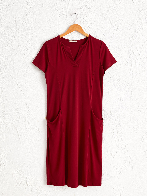 %96 Polyester %4 Elastan Elbise Standart Astarsız V Yaka Kısa Kol İnce Düz A Kesim Midi V Yaka Esnek Elbise