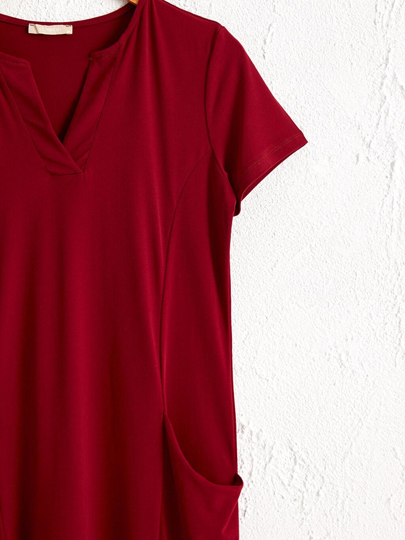 %96 Polyester %4 Elastan V Yaka Esnek Elbise