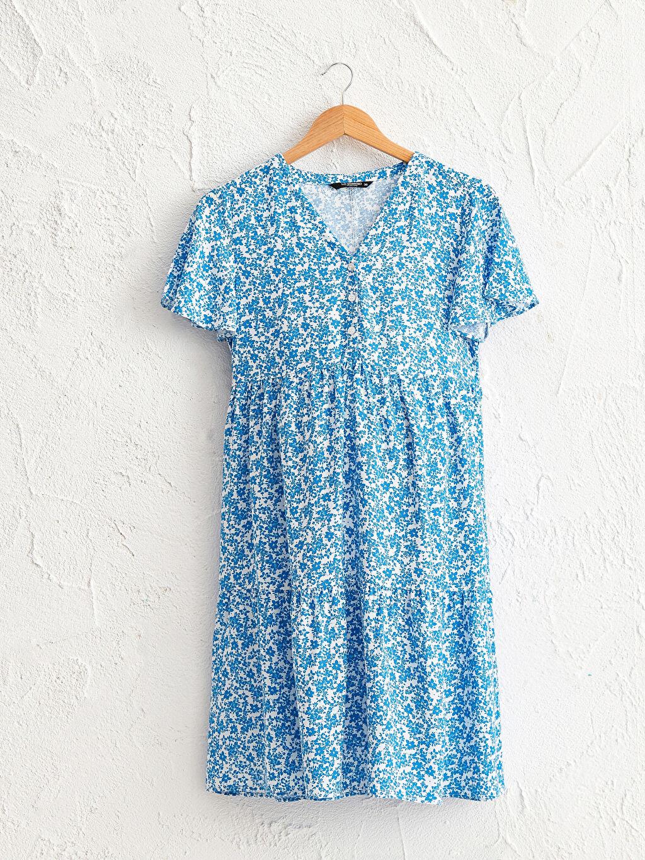 Mavi Çiçek Desenli Viskon Hamile Elbise 0SR892Z8 LC Waikiki