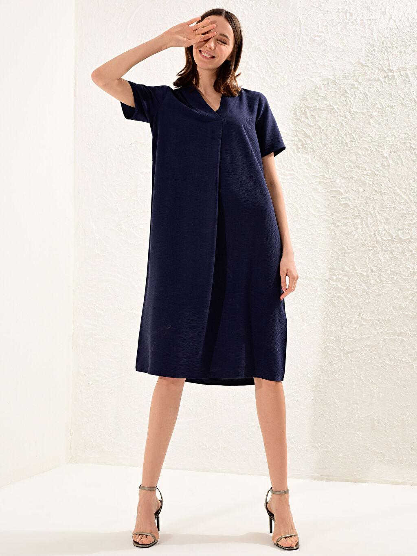 %14 Poliamid %86 Viskon İnce Düz A Kesim Midi Elbise Ofis/Klasik Standart Astarsız Kısa Kol Armürlü Viskon Elbise