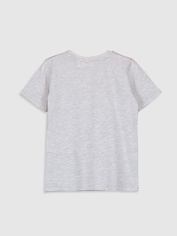 %54 Pamuk %46 Polyester Baskılı Standart İnce Kısa Kol Tişört Bisiklet Yaka Erkek Çocuk Taş Devri Baskılı Tişört