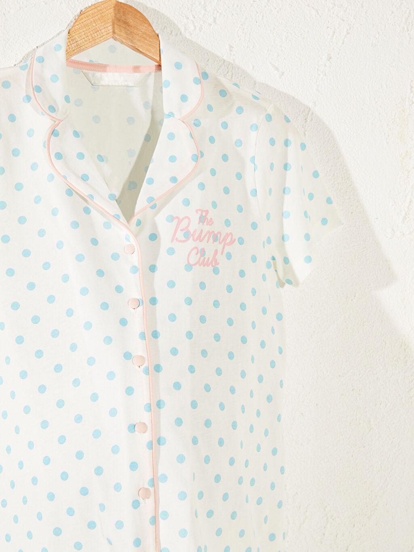 %100 Pamuk %100 Pamuk Pijama Takım Uzun Kısa Kol Puantiye Aksesuarsız Standart Gömlek Yaka İnce Puantiyeli Pamuklu Hamile Pijama Takımı
