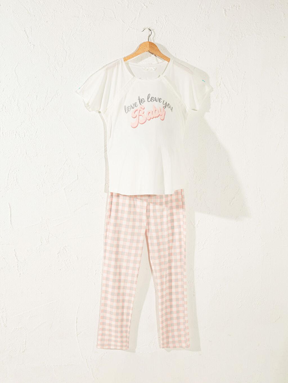 Pembe Slogan Baskılı Pamuklu Hamile Pijama Takımı 0SS315Z8 LC Waikiki