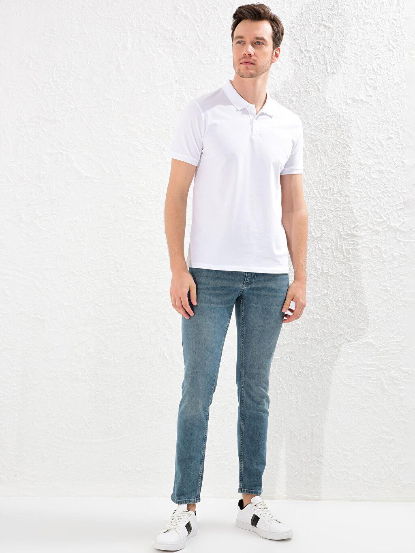 %98 Pamuk %2 Elastan Dar Beş Cep Jean Düz 750 Slim Fit Jean Pantolon