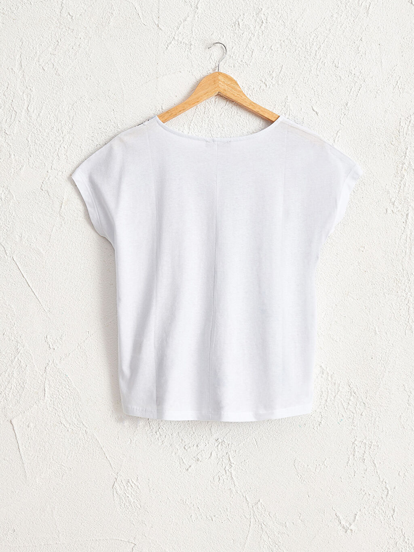 Kadın Desenli Pamuklu Tişört