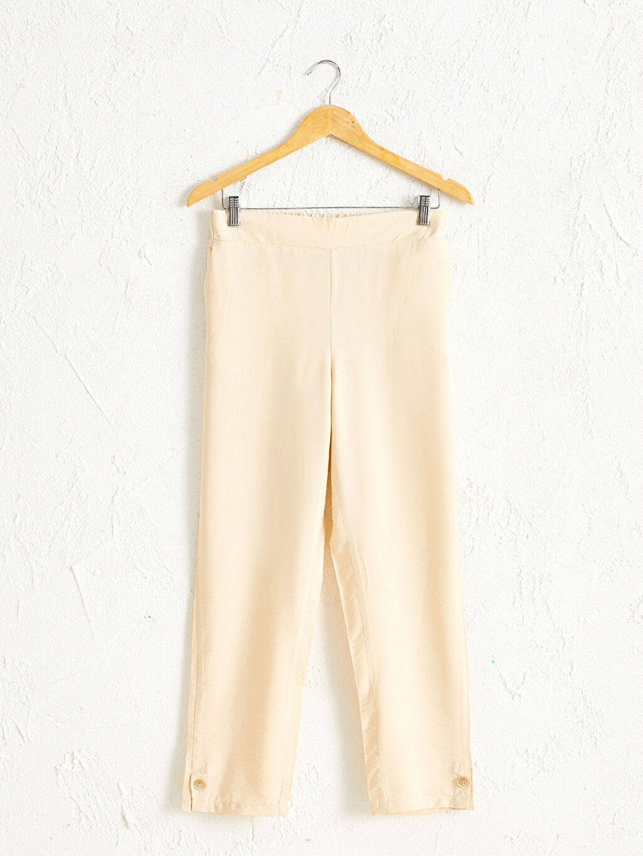 %8 Poliamid %92 Vıscose İnce Düz Rahat Kalıp Pantolon Beli Lastikli Bilek Boy Düz Paça Harem Pantolon