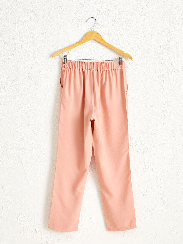 Pembe Beli Lastikli Bilek Boy Düz Paça Harem Pantolon
