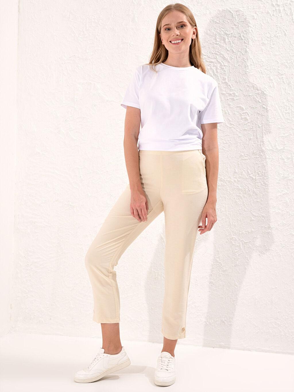 Kadın Beli Lastikli Bilek Boy Düz Paça Harem Pantolon