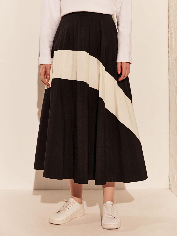 Kadın Şerit Detaylı Uzun Plise Etek