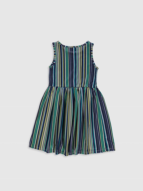 Çizgili Elbise %100 Pamuk Kız Çocuk Pamuklu Elbise