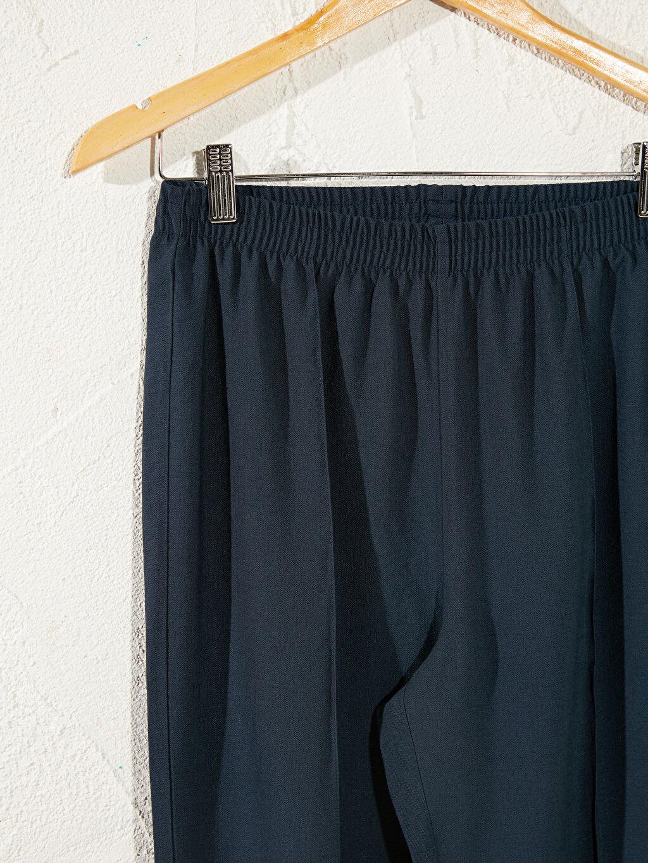 %12 Poliamid %88 Viskoz İnce Standart Yüksek Bel Standart Pantolon Beli Lastikli Viskon Pantolon