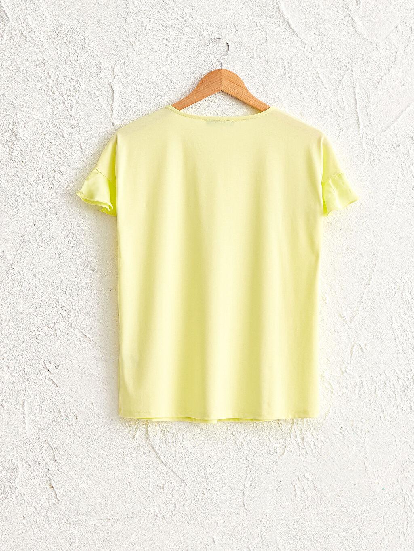 %62 Polyester %34 Viskon %4 Elastan Kısa İnce Tişört Günlük V Yaka Kısa Kol Düz Penye V Yaka Hamile Tişört