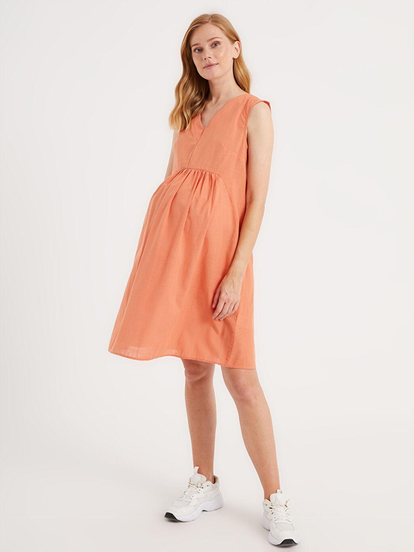 Mercan Pamuklu Hamile Elbise 0SU315Z8 LC Waikiki