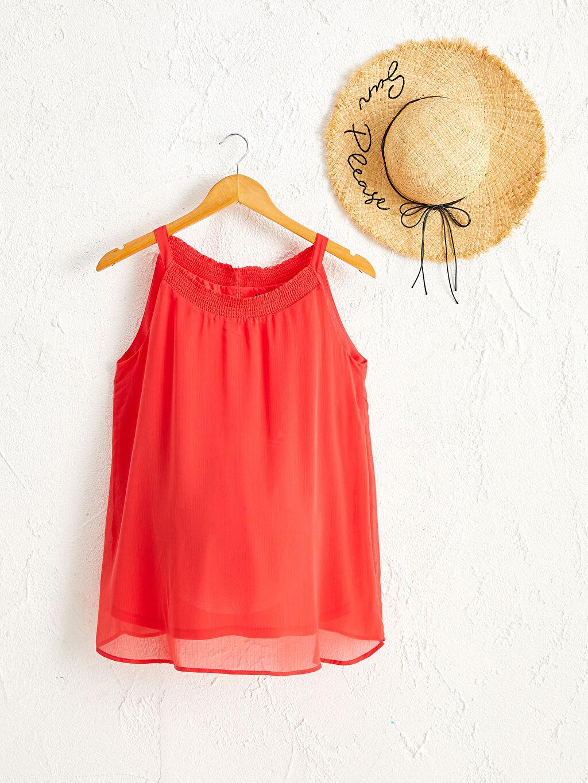 Kırmızı Fisto Detaylı Hamile Bluz 0SU316Z8 LC Waikiki