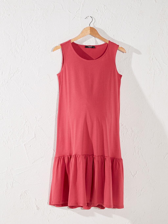 Pembe Fırfır Detaylı Pamuklu Hamile Elbise 0SU345Z8 LC Waikiki