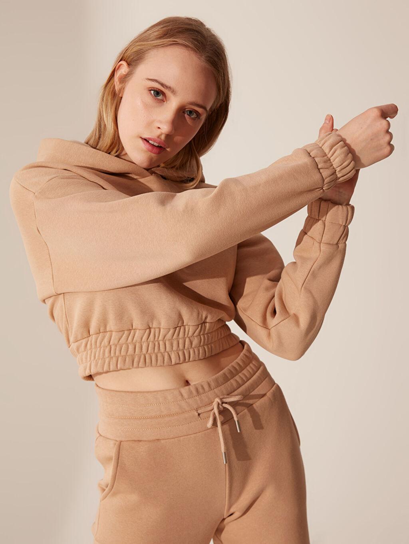 %65 Pamuk %35 Polyester Kalın Uzun Kol Standart Sweatshirt Kapüşonlu