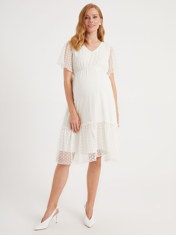 %100 Viskoz %100 Polyester Astarsız Uzun Krinkle İnce Günlük Elbise Düz Kolsuz V Yaka Dokulu Kumaştan Puantiyeli Dantel Detaylı Hamile Elbise