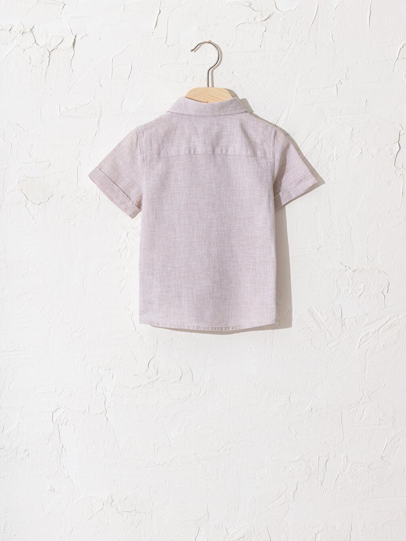 %73 Pamuk %27 Keten Gömlek Polo Yaka Kısa Kol Düz %100 Pamuk Erkek Bebek Gömlek