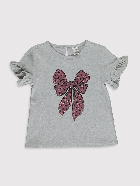Gri Kız Bebek Baskılı Pamuklu Tişört  0SV107Z1 LC Waikiki