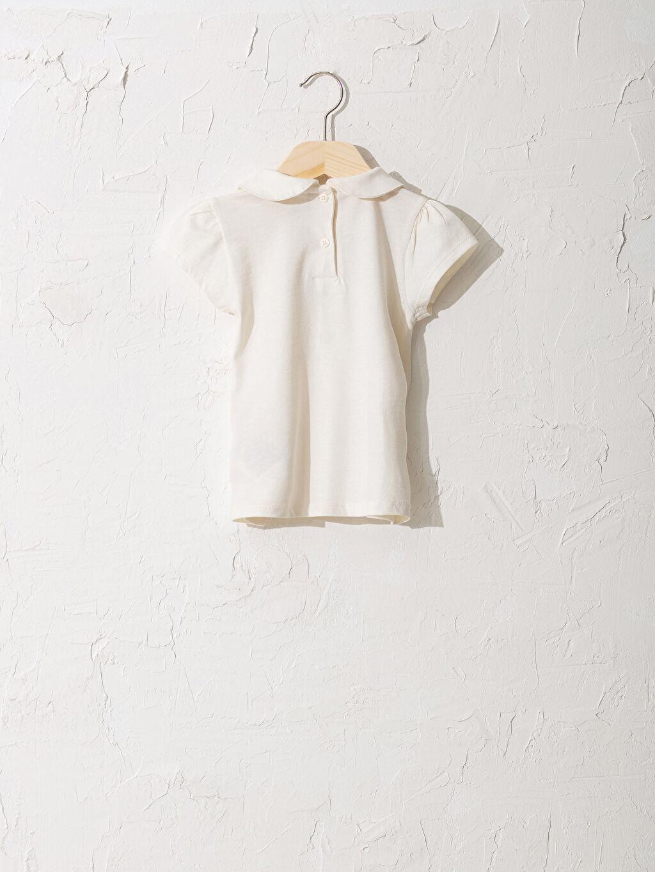 %100 Pamuk %100 Pamuk Penye Bebe Yaka Standart Baskılı Tişört Günlük Orta Kalınlık Kısa Kol Kız Bebek Baskılı Tişört
