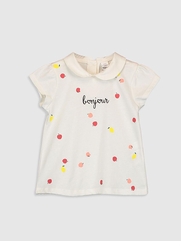 Ekru Kız Bebek Baskılı Tişört 0SV456Z1 LC Waikiki