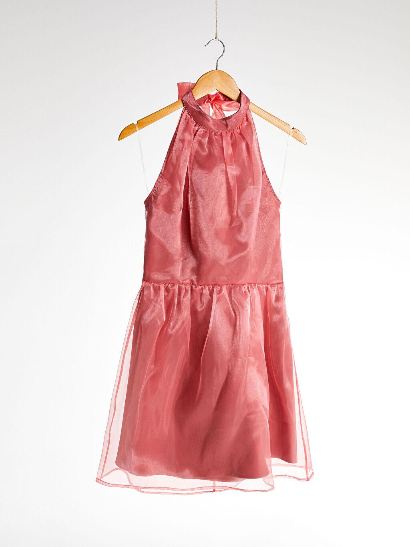 Tül Detaylı Halter Yaka Elbise