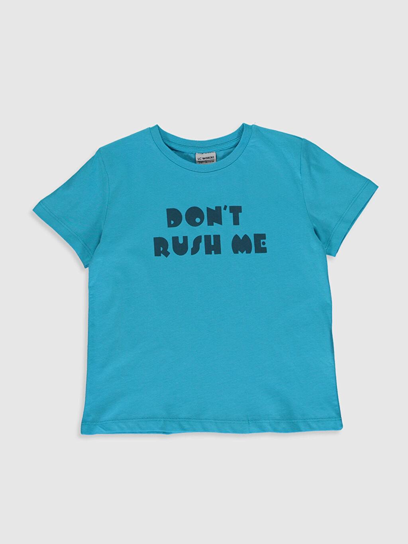 Turkuaz Erkek Çocuk Yazı Baskılı Pamuklu Tişört 0SV618Z4 LC Waikiki