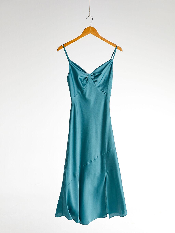 Kadın Appleline Büzgü Detaylı Askılı Elbise