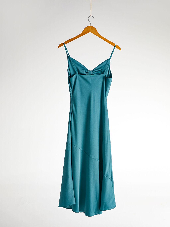 Düz Orta Kalınlık Askılı Elbise Parti Appleline Büzgü Detaylı Askılı Elbise