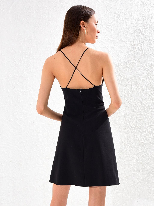 LC Waikiki Siyah Appleline Beli Dekolte Detaylı Askılı Elbise