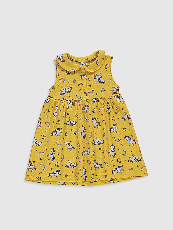 Sarı Kız Bebek Baskılı Pamuklu Elbise 0SV811Z1 LC Waikiki