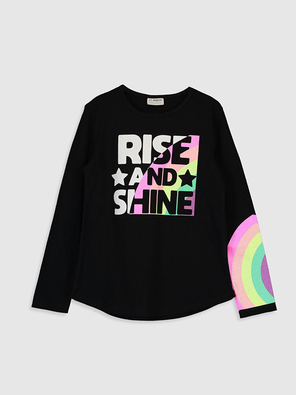 Siyah Kız Çocuk Baskılı Pamuklu Tişört 0SY545Z4 LC Waikiki