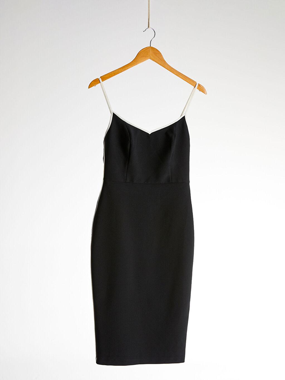 %95 Polyester %5 Elastan %100 Polyester Düz Askılı Elbise Parti Appleline Şerit Detaylı Esnek Kalem Elbise